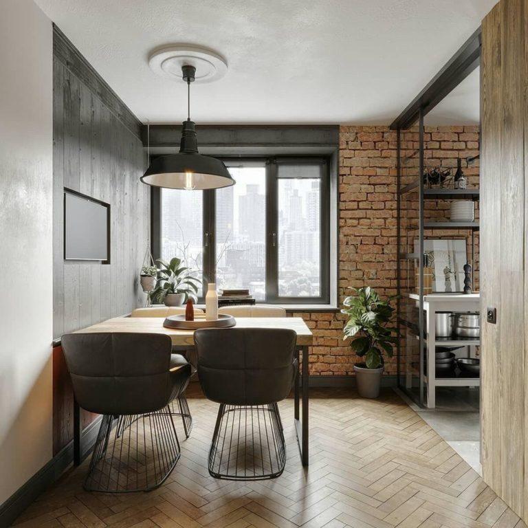Стильная гостиная с элементами стиля Лофт